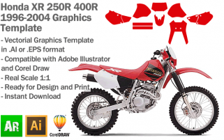 Honda XR 250R 400R Enduro Trail 1996 1997 1998 1999 2000 2001 2002 2003 2004 Graphics Template