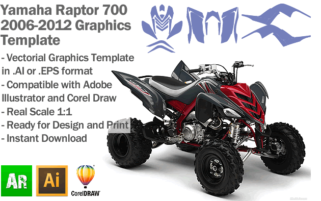 Yamaha Raptor 700 ATV Quad 2006 2007 2008 2009 2010 2011 2012 Graphics Template