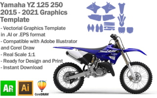Yamaha YZ 125 250 MX Motocross 2015 2016 2017 2018 2019 2020 2021 Graphics Template