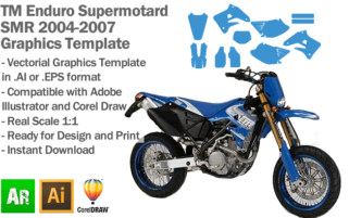 TM Enduro Supermotard SMR 2004 2005 2006 2007 Graphics Template