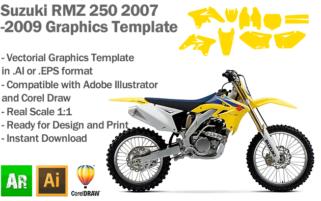 Suzuki RMZ 250 MX Motocross 2007 2008 2009 Graphics Template