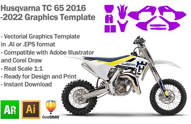 Husqvarna TC 65 MX Motocross 2016 2017 2018 2019 2020 2021 2022 Graphics Template