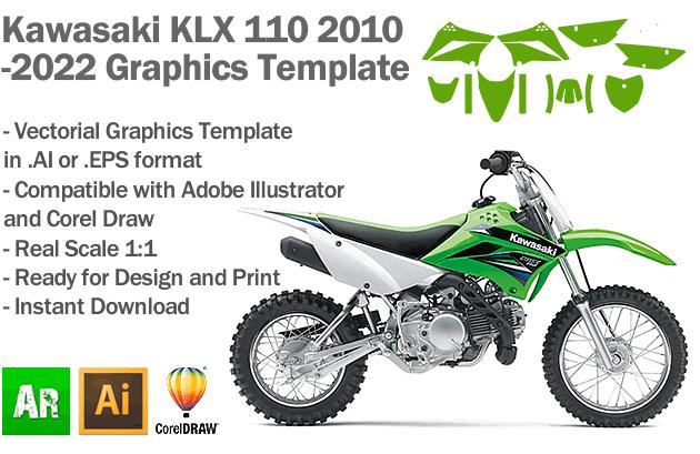 Kawasaki KLX 110 MX Motocross 2010 2011 2012 2013 2014 2015 2016 2017 2018 2019 2020 2021 2022 Graphics Template