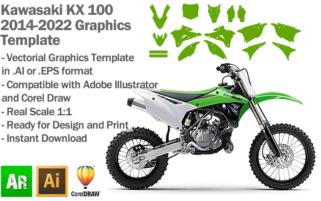 Kawasaki KX 100 MX Motocross 2014 2015 2016 2017 2018 2019 2020 2021 2022 Graphics Template