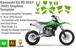 Kawasaki KX 85 MX Motocross 2014 2015 2016 2017 2018 2019 2020 2021 Graphics Template