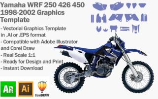 Yamaha WRF 250 426 450 Enduro 1998 1999 2000 2001 2002 Graphics Template