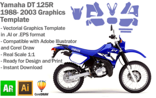Yamaha DT 125R Trail 1988 1989 1990 1991 1992 1993 1994 1995 1996 1997 1998 1999 2000 2001 2002 2003 Graphics Template