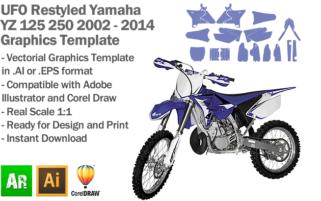 UFO Restyled Yamaha YZ 125 250 MX Motocross 2002 2003 2004 2005 2006 2007 2008 2009 2010 2011 2012 2013 2014 Graphics Template
